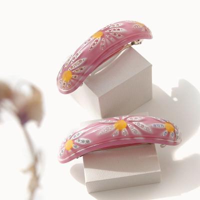 바이데이지 Bh0498 핑크 플라워 한머리 자동핀