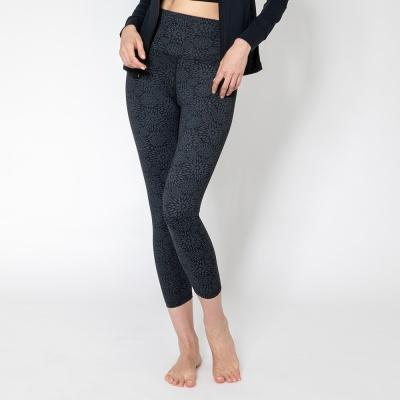 여성 운동복 플라워 요가레깅스 DFW4022 블랙