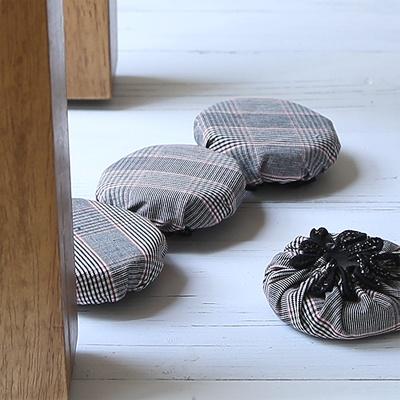[콩지] 클래식체크 세발 의자발커버 3P