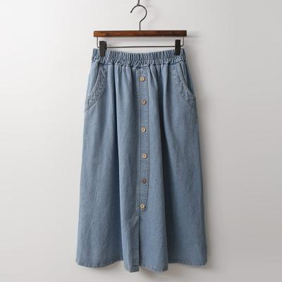Button Full Denim Skirt