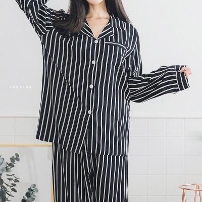 [쿠비카]레이온 스트라이프 긴팔 투피스 여성잠옷W246