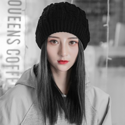 루즈핏 겨울 롱 비니(블랙)/ 여자 니트 털모자