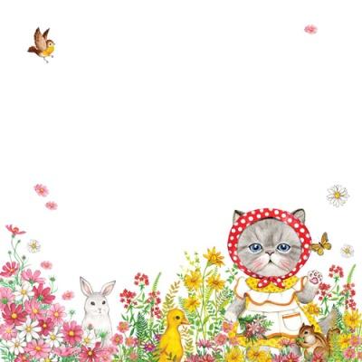 고양이삼촌 메모패드 - 꽃밭위의 루미