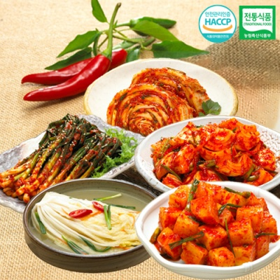 깍두기+양파김치+파김치+백김치+맛김치x각1kg