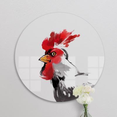 ie914-대형원형아크릴액자_풍수에좋은닭그림