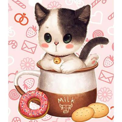 티컵 고양이 1 (패브릭) 5D 보석십자수 30x35