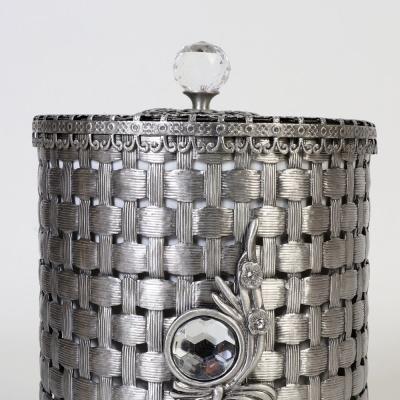 엔틱메탈 라탄패턴 매화 원통형 휴지통 스몰-2색상