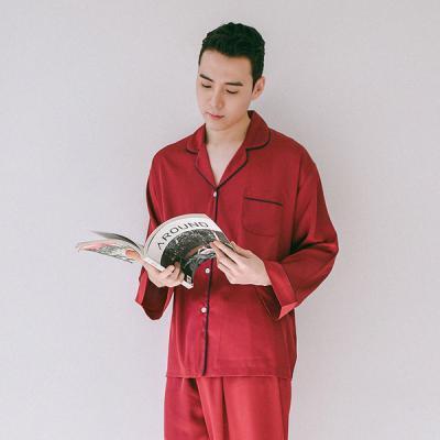 [쿠비카]스탠다드 파이핑 고급 샤무즈 남성잠옷 M087
