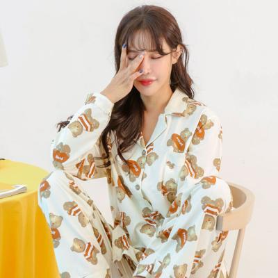 메리핀 스트라이프 베어 긴팔 여성 잠옷세트