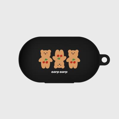 Three cherry big bear-black(buds jelly case)