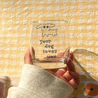 푸들이 디자인 유리컵