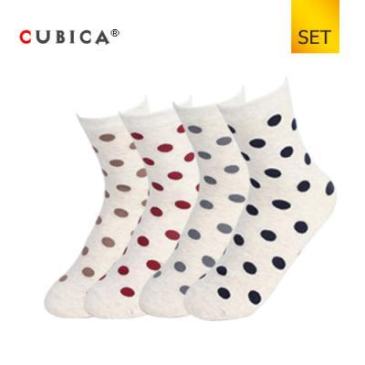 [쿠비카]패션 스몰 도트 패턴 중목 여성양말 4족 세트 CAS-SCS050 SET