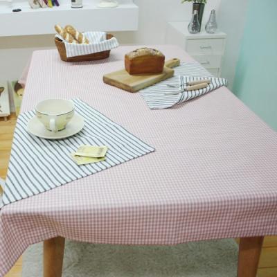 미니멀체크 방수식탁보 - 핑크