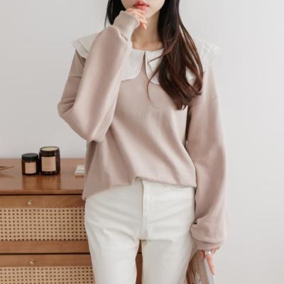 여성 가을 루즈핏 긴팔 맨투맨 티셔츠 더블카라