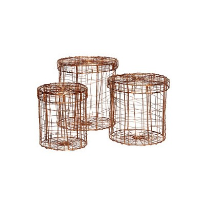 [Hubsch]Metal basket, round, copper, set of 3 408023 바스켓