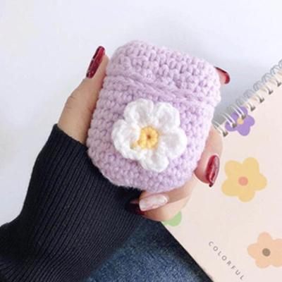에어팟 귀여운 꽃잎 손뜨개 니트 케이스 1/2_퍼플 306