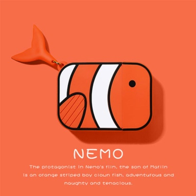 에어팟 1/2 니모 물고기 캐릭터 젤리케이스_오렌지321