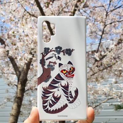 전통 명화 까치와 호랑이 백색 휴대폰 케이스