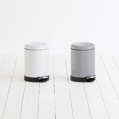 [바이홈]밀리 무소음 페달 휴지통 원형 5L