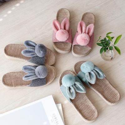 [2HOT] 토끼 왕골 통굽 슬리퍼
