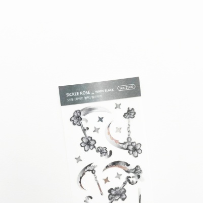 푸푸남 낫꽃 [화이트 블랙] 씰스티커