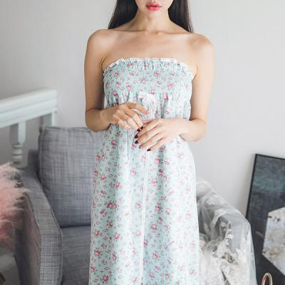 [쿠비카]플라워 스모킹 랩 가운 여성잠옷 W227