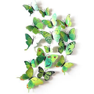 PVC 3D 나비 포인트 스티커 green 12P