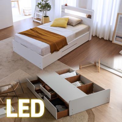 LED조명+콘센트 침대 SS (양면매트) 포서랍 KC186