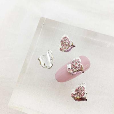 Woman bonita nail parts 큐빅메탈 핑크나비 1개