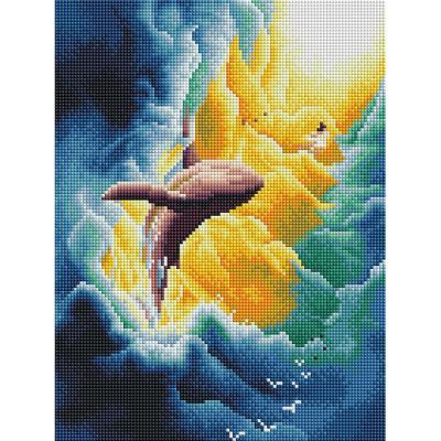 구름 속 고래 (캔버스형) 보석십자수 30x40