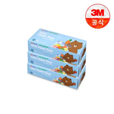 [3M]라인프렌즈 후레쉬 슬라이드 지퍼백(소) 3개세트