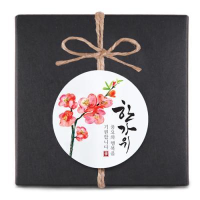 한가위 매화꽃 원형 라벨 (10개)