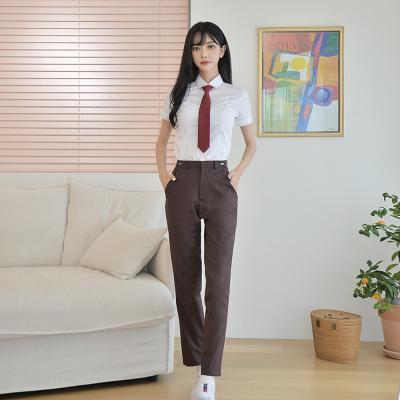 [빅사이즈]허리조절 하복 브라운 교복바지(여자) ~6XL