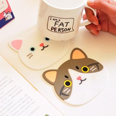 귀여운 고양이 실리콘 코스터