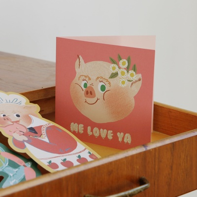 Piggy Smile Folding Card
