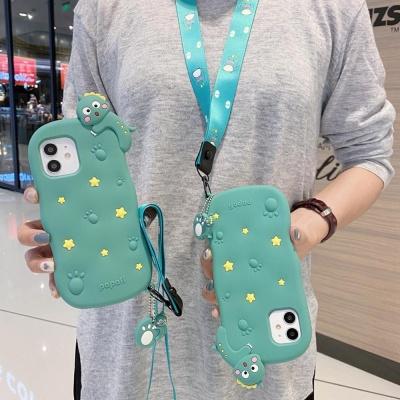 아이폰12 11 PRO MAX SE2 8 공룡 키링 스트랩 케이스