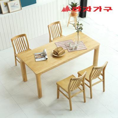미농 고무나무 원목 와이드 식탁 세트 4인용 의자형 B