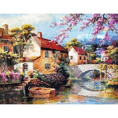 호숫가 마을 (패브릭) 보석십자수 40x55