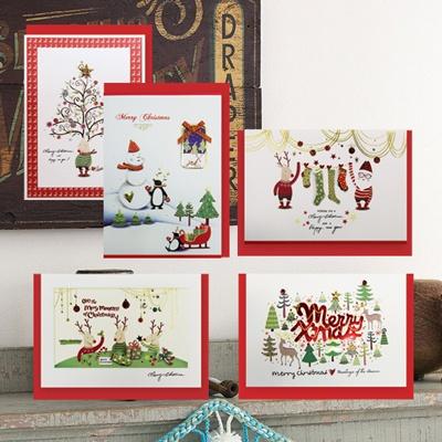 크리스마스카드/성탄절/트리/산타 숲속의크리스마스 (FS1012 5종 set)