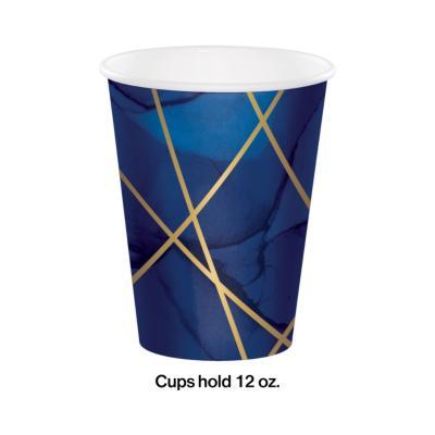 [빛나파티]네이비 골드 불규칙 줄무늬 종이 컵
