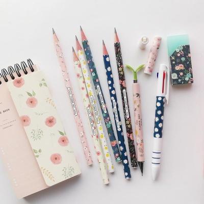핑크풋 꽃길 연필 6본 세트(B심)