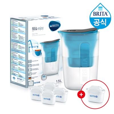 필터형 정수기 브리타 펀 1.5L 블루+필터4+1개월분(기본구성 필터포함)