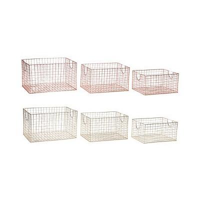 [Hubsch]Basket, square, metal s/3  바스켓