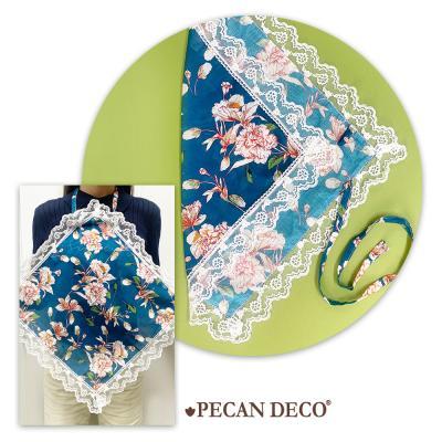 피칸데코 에티켓 손수건 블루플라워 앞치마 무릎덮개
