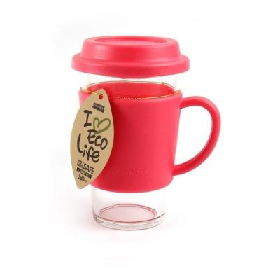 글라스락 유리 텀블러 380ml 핑크 유리컵 이유식컵