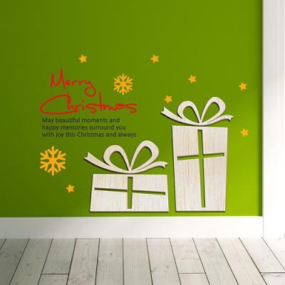 [우드스티커] 크리스마스선물 (반제품) - 입체우드 월데코  포인트 우드스카시 벽장식
