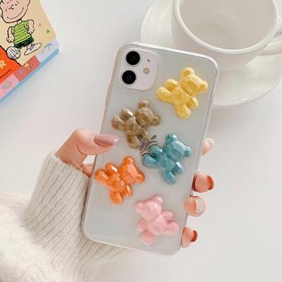 아이폰se2 11 pro max xs 8 입체 컬러 곰 투명 케이스
