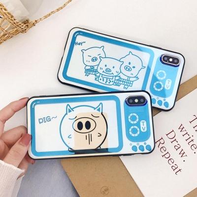 아이폰 돼지 캐릭터 홀로그램 실리콘 휴대폰 케이스