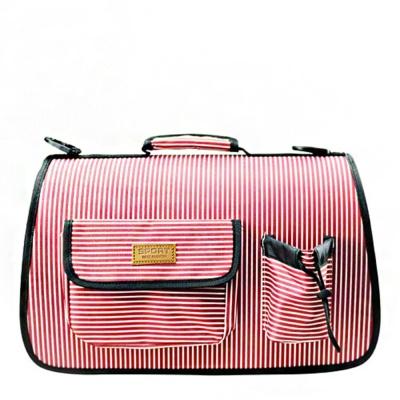 반려동물 외출 이동가방 줄무늬 핑크 L