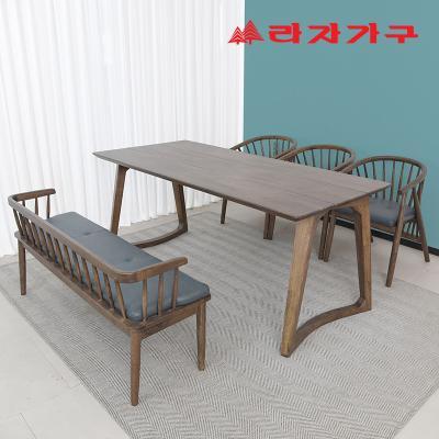 헤들 고무나무 원목 식탁세트 6인 A타입